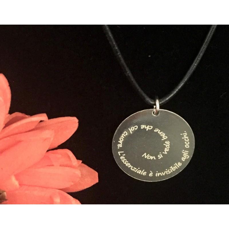 Ciondolo in argento Piccolo Principe con personalizzazione laser ww.personalizzazionilaser.it