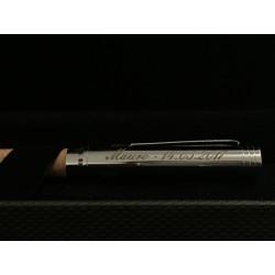 Penna a sfera in alluminio con corpo in sughero ed incisione personalizzata a laser www.personalizzazionilaser.it