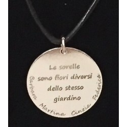 Ciondolo in argento Sorelle con personalizzazione laser www.personalizzazionilaser.it