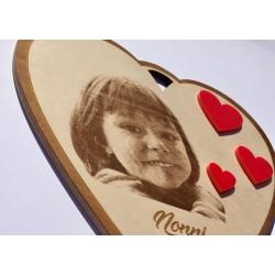 Targa a forma di cuore con foto e incisione laser personalizzata www.personalizzazionilaser.it