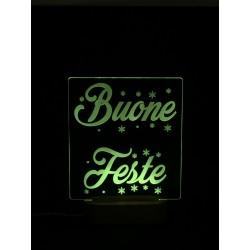 Lampada Buone Feste in plexiglass con base a led personalizzabile www.personalizzazionilaser.it