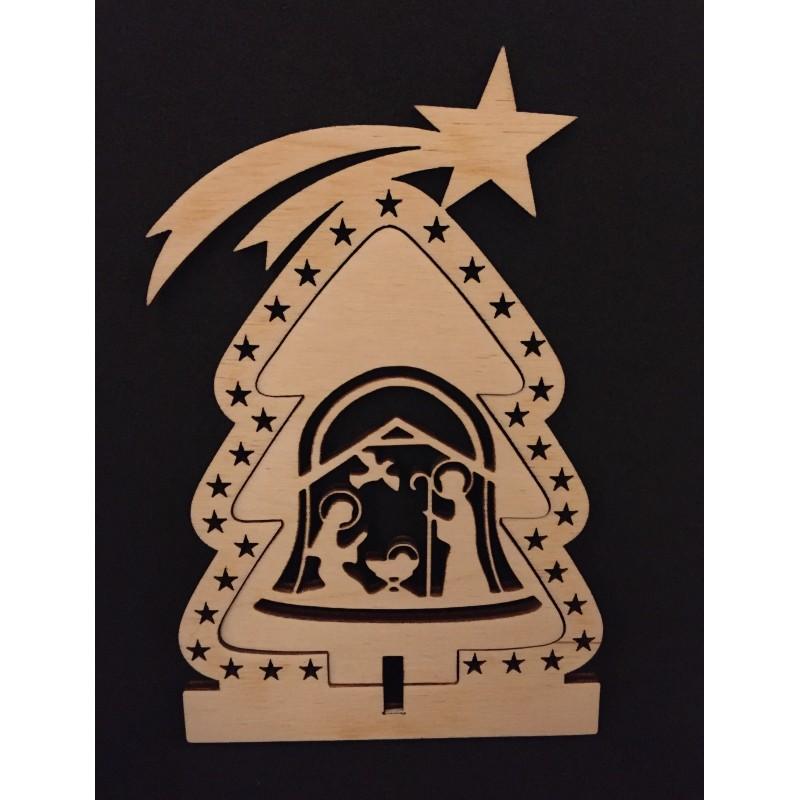 Albero di Natale in legno con natività www.personalizzazionilaser.it