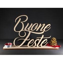 Scritta natalizia Buone Feste in legno www.personalizzazionilaser.it