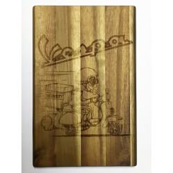 Tagliere in legno d'acacia art.104 vespa con incisione laser personalizzata www.personalizzazionilaser.it