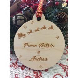 Pallina primo Natale per albero di Natale con incisione laser personalizzata www.personalizzazionilaser.it