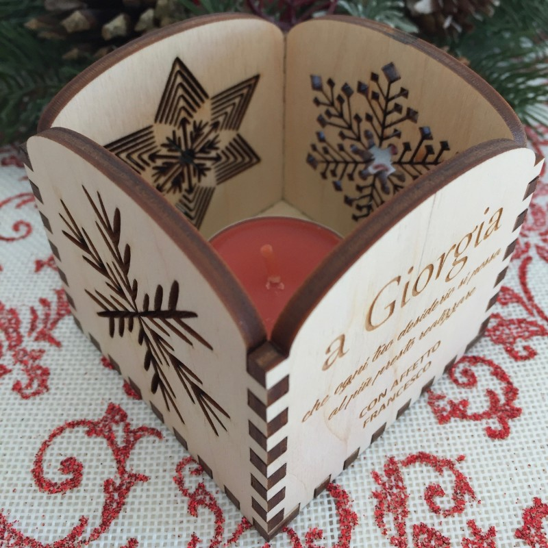 Portacandela Natale con incisione laser personalizzata www.personalizzazionilaser.it