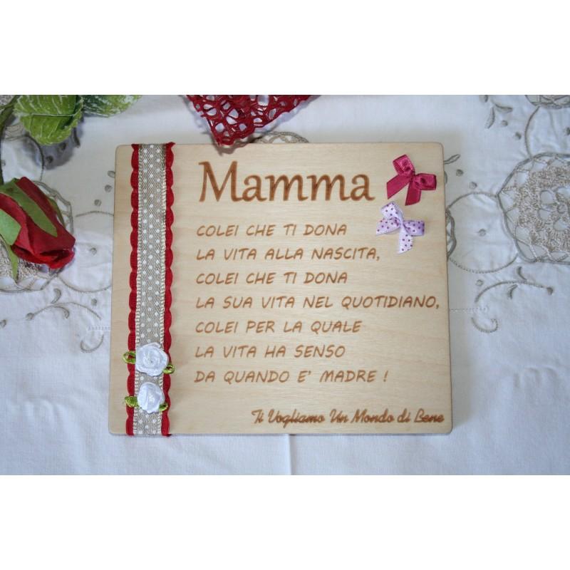 Targa in legno Mamma con incisione personalizzata laser www.personalizzazionilaser.it