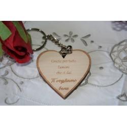 Portachiavi a forma di cuore per la MAMMA con incisione laser personalizzata www.personalizzazionilaser.it