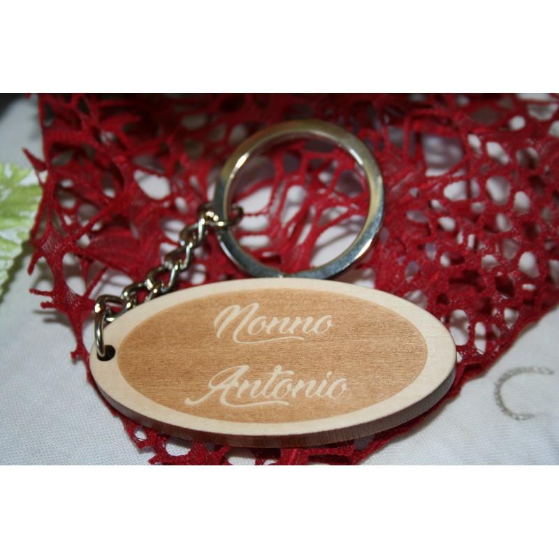 Portachiavi in legno per nonno con incisione laser personalizzata www.personalizzazionilaser.it