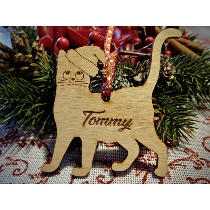 Pallina albero di Natale Mod. Gatto con nome personalizzato  www.personalizzazionilaser.it