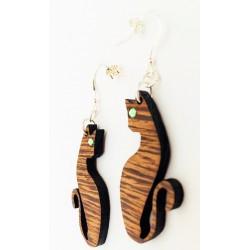 Orecchini in legno pendenti GATTO www.personalizzazionilaser.it