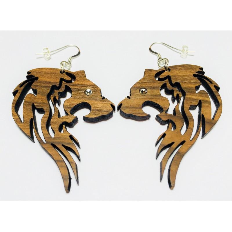 Orecchini in legno pendenti LEONE www.personalizzazionilaser.it