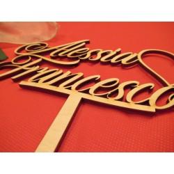 Cake topper Matrimonio personalizzato in legno www.personalizzazionilaser.it