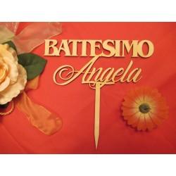 Cake topper Battesimo personalizzato in legno www.personalizzazionilaser.it
