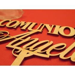 Cake topper Comunione personalizzato in legno  www.personalizzazionilaser.it