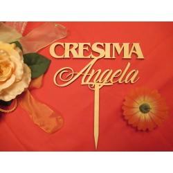 Cake topper Cresima personalizzato in legno  www.personalizzazionilaser.it