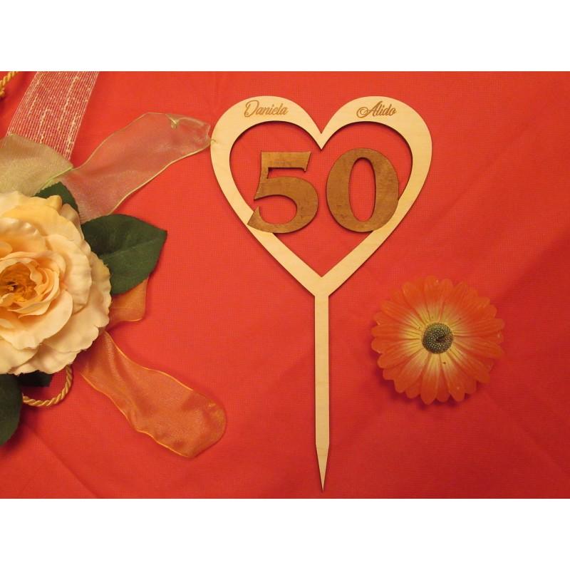 Cake topper Anniversario Matrimonio personalizzato in legno  www.personalizzazionilaser.it
