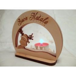 Portacandela Natalizia Buon Natale con renna ed incisione laser personalizzata  www.personalizzazionilaser.it