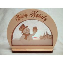Portacandela Natalizia Buon Natale con pupazzo di neve ed incisione laser personalizzata www.personalizzazionelaser.it