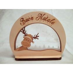 Addobbo Natalizio Buon Natale con renna ed incisione laser personalizzata  www.personalizzazionilaser.it