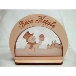 Addobbo Natalizio Buon Natale con pupazzo di neve ed incisione laser personalizzata  www.personalizzazionilaser.it