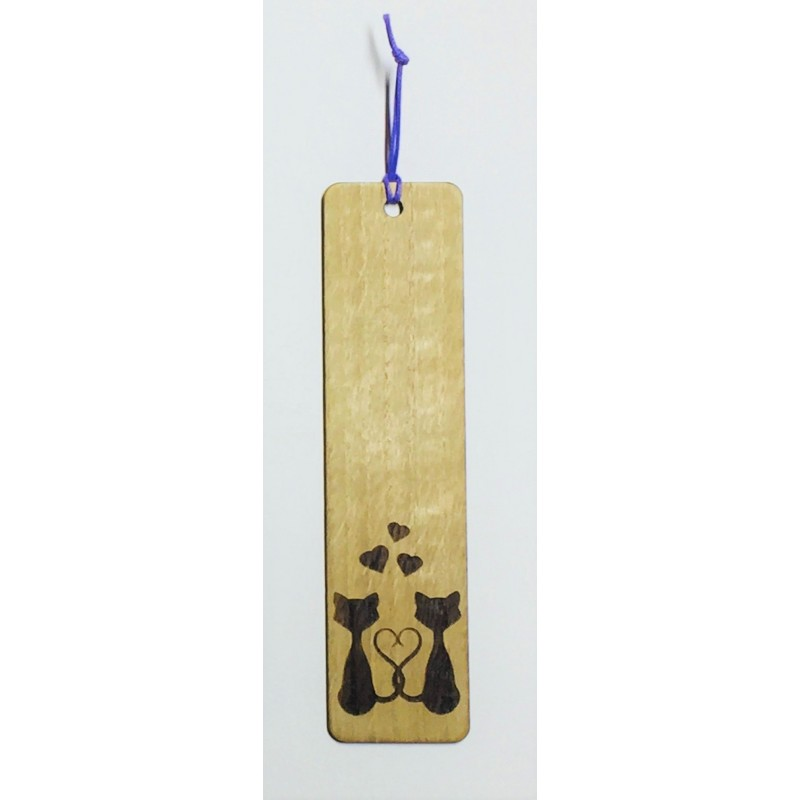 Segnalibro in legno di rovere GATTI con incisione laser personalizzata www.personalizzazionilaser.it